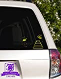 """Bumble Bees and Hive Vinyl Car Decal - 5"""" Yellow"""
