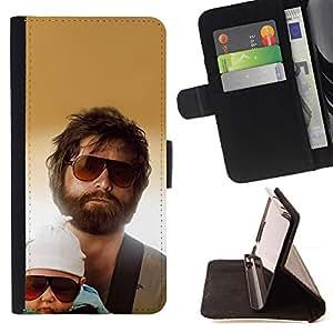 Momo Phone Case / Flip Funda de Cuero Case Cover - Retrato de la familia del ni?o hombre Barba Gafas de sol - Samsung Galaxy S6 Active G890A