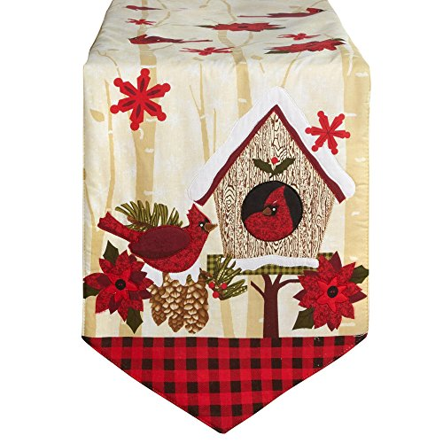 - Machine Washable Christmas Holiday Embroidered Table Runner Cardinal Holly Berry Quilted Joy Snowman Poinsettia Placemats (Red Cardinal Table Runner)