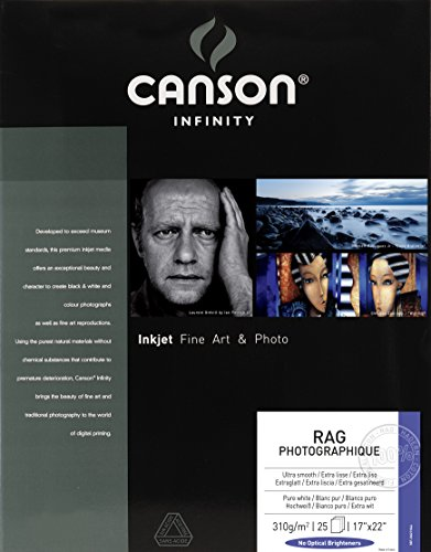 Canson Infinity Rag Photographique Fine Art Paper, 310 Gram, 17 x 22 Inch, 25 Sheets