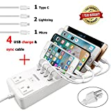 Power Strip with 4 USB Cables, COSOOS 4 USB Charging Station with Surge Protector, 2-Outlet 4.5ft Extension Cord, Multi Device Fast Charge Hub for iPhone, iPad, Apple, Samsung, Tablets and Travel Use