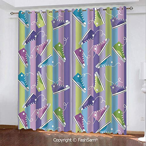 """Thermal Insulated Blackout Curtains Different Colored Sneakers on Vertically Striped Backdrop Youth Footwear Fashion Darkening Panel for Bedroom(84""""X84"""")"""