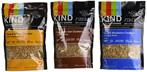 Honey Blueberry Granola - Kind Healthy Grains Clusters Variety 3 Pack (Cinnamon Oat Clusters, Oats & Honey, Vanilla Blueberry)