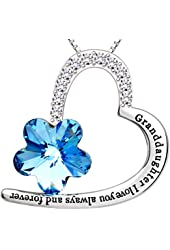 """ALOV Jewelry Sterling Silver """"Granddaughter I love you always and forever"""" Love Heart Pendant Necklace"""