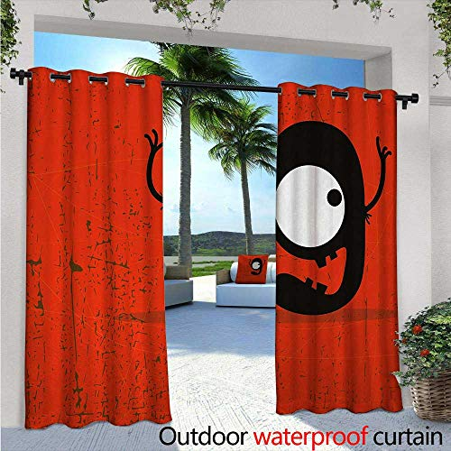 Red Outdoor- Free Standing Outdoor Privacy Curtain W84 x L108 Cartoon Style Illustration of The Letter G Monster on The Grunge Background for Front Porch Covered Patio Gazebo Dock Beach Home Red Bl -