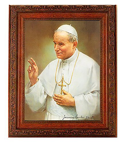 - John Paul II in a Fine Detailed Ornate Antiqued Mahogany Finished Frame Italian Lithograph Under Glass
