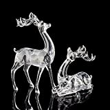 Assolar Animal Deers, Elk Crystal Miniature Figurines Sets Christmas Holiday Collectible Decor Birthday Gift