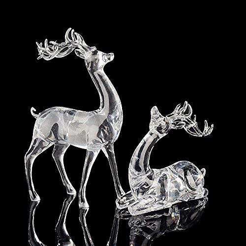 Assolar Animal Deers, Elk Crystal Miniature Figurines Sets Christmas Holiday Collectible Decor Birthday Gift by Assolar