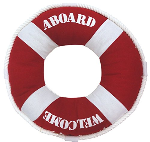 Welcome Aboard Life Ring Pillow, Red with Rope Accent