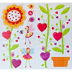 Kids Growth Chart Removable With Flower Fairies Ladybugs Snails 3D Picture Frames Decals For Kids Room Nursery Playroom School (Height Measurement up to 66 inches)