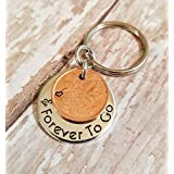 7th Copper Anniversary Key Chain Seven Years Forever To Go with a 2012 Cent Penny