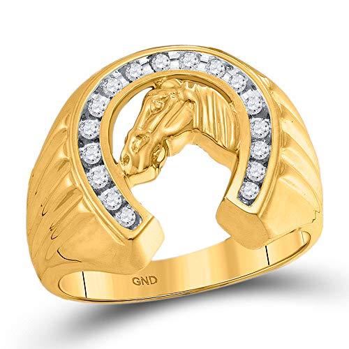 10kt Yellow Gold Mens Round Diamond Horseshoe Ring 1/4 Cttw