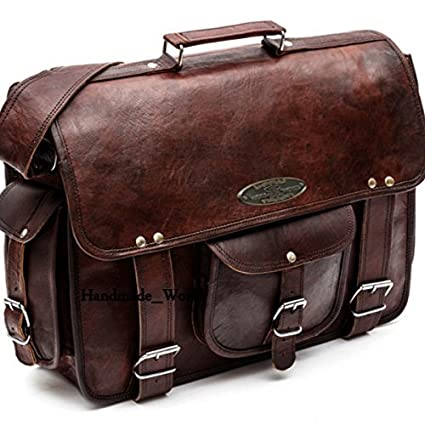 7d4b96acb9b30 Amazon.com: Handmade World Leather Messenger Bags for Men Women 16