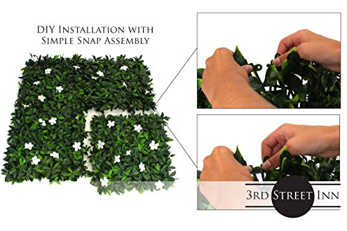 Artificial Hedge - Outdoor Artificial Plant - Great Boxwood and Ivy Substitute - Sound Diffuser Privacy Fence Hedge - Topiary Greenery Panels (12, White Cuckoo Flower) by Milltown Merchants (Image #5)