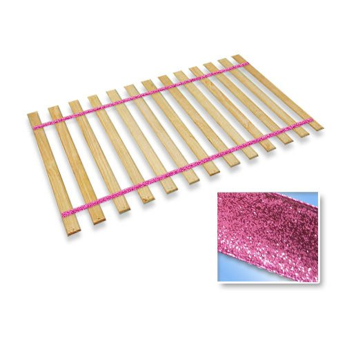 The Furniture Cove Twin Size Attached Bed Slats - Bunkie Boards (Pink Glitter Straps)