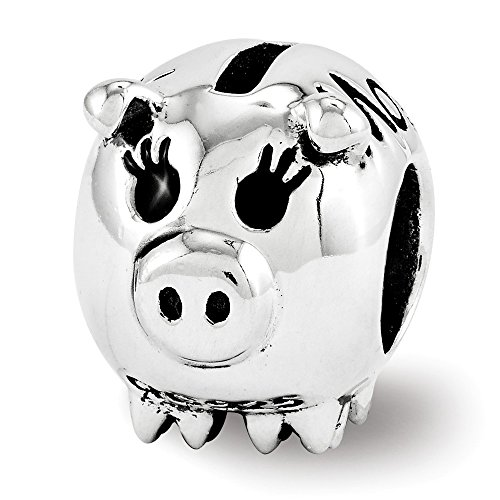 Bank Piggy Sterling Silver (Solid 925 Sterling Silver Reflections Fun Money Piggy Bank Bead (8.2mm x 9.1mm))