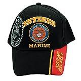 U.S.A.Military U.S.''Retired Marine'' Official Licensed Baseball Adjustable Black Cap Free USA Flag Keychain
