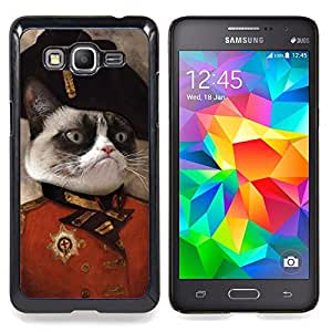 "Qstar Arte & diseño plástico duro Fundas Cover Cubre Hard Case Cover para Samsung Galaxy Grand Prime G530H / DS (Gato enojado Cara siamés Rosa Arte de la nariz general"")"