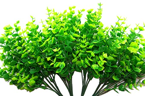 Artificial Eucalyptus 14 Plastic Shrubs Of Green & Yellow Leaves, 4 Bundels X 7 Stems, Faux Simulation Greenery Plants For Garden, Wedding, Patio, Office, House, Balcony Decoration