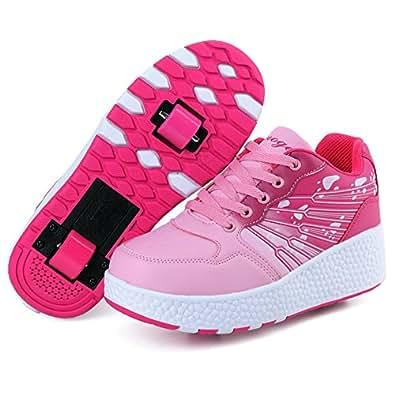 KE Los niños unisex de ruedas Auto-párrafo Zapatos Zapatos Polea Patines Deportes (CN39=24.5CM , Pink(Two wheels) )