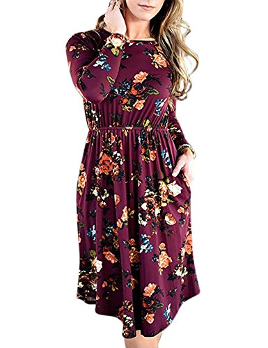 Purple Swing Long Dress Pocket Casual Tshirt Pleated Sleeve Women's with Floral EMVANV UwxCPqHnP