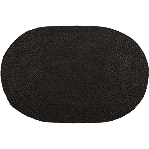 VHC Brands Farmhouse Primitive Flooring Jute Black Oval Rug, 1'8