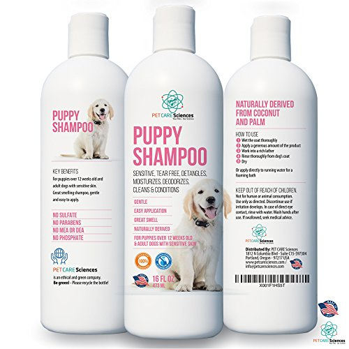 New Puppy Shampoo Gentle & Sensitive Naturally Derived With Coconut Oil & Palm Oil. Made in USA.