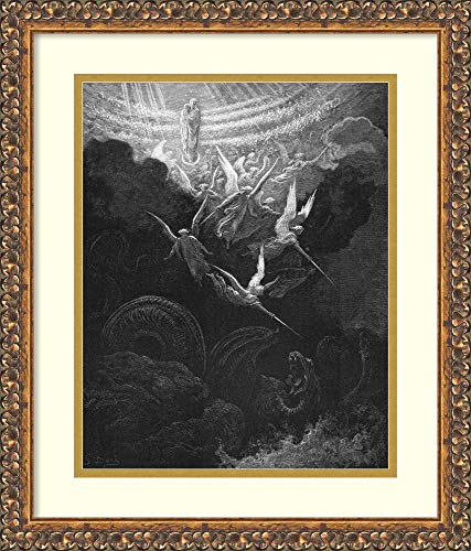 Framed Wall Art Print | Home Wall Decor Art Prints | Archangel Michael and his angels fighting the dragon. Virgin Mary with infant Jesus in arms looks down from Heaven. Revelation 12:1. From Gustave D