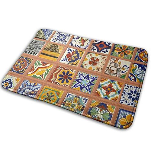 OLZI Talavera Mexican Tiles Doormat Indoor Home Kitchen Bathroom Outdoor Non-Slip (23.6