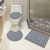 lacencn Floral 3 Piece Toilet Cover set Victorian Retro Renaissance Blooms with Folk Batik Arabian Influences Pattern Rug Set Charcoal Grey Coral Blue