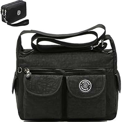 Nylon Crossbody Handbags Casual Shoulder Bags for Women Leisure Lightweight Messenger Bag Shoulder Bag with Lots of Pockets (black)