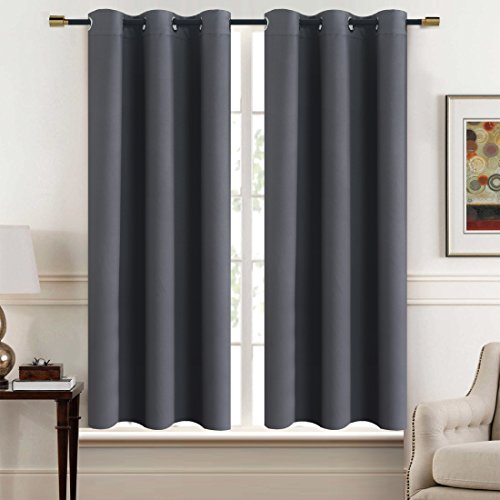 Solid Thermal Insulated Blackout Window Curtains / Draperies / Panels for Bedroom/ Living Room/Sliding glass doors Top Fation Grommet by Alice Brown (2 Panel,W42 x L63 –Inch,Gray) (Ideas Room Sitting Dining)