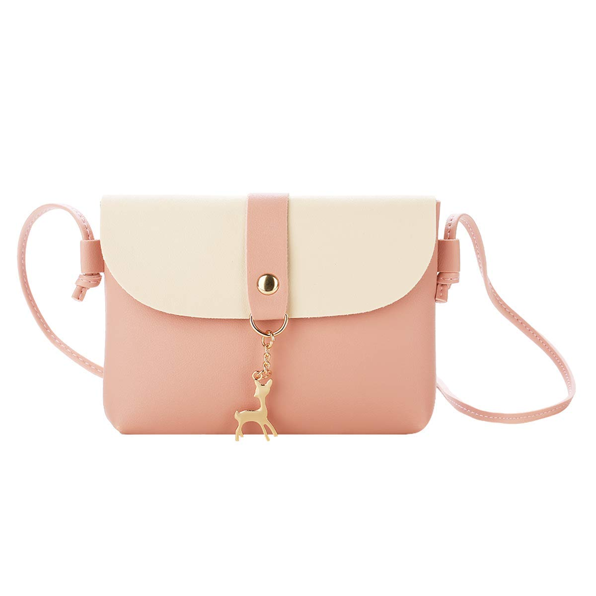 Small Crossbody Purse for Women With Pendant,PU Leather Crossbody Bag With Strap Cell Phone Bag for Girl,Pink
