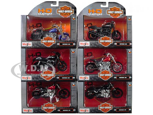 Diecast Harley Metal Davidson (NEW 1:18 MAISTO MOTORCYCLES HARLEY DAVIDSON COLLECTION - CUSTOM MOTORCYCLES SERIES 35 ASSORTMENT SET OF 6pcs Diecast Model Car By Maisto)