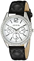 Geneva Women's FMDJM106 Silver-Tone Watch with Black Faux Leather Band