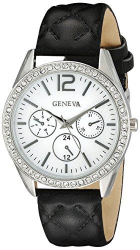Geneva Black Leather Watch - 5