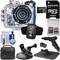 Intova HD2 Marine Grade HD Video Action Camera Camcorder with Video Light with 32GB Card + Case + Windshield & Dashboard Mounts + Tripod/Grip Kit