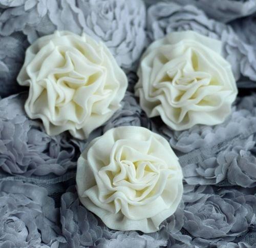 Silk Chiffon Rosette - 3 Chiffon Flowers Soft Fabric Silk Flower Cabbage Rosette Bud Bridal Wedding (Ivory Cream)