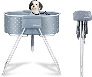 Furesh Elevated Folding Dog Bath Tub and Wash Station for Bathing, Shower, and Grooming, Foldable and Portable, Indoor and Outdoor, Perfect for Small and Medium Size Dogs, Cats and Other Pet