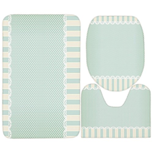 3 Piece Bathroom Mat Set,Shabby Chic Decor,Traditional Old Fashioned Vertical Stripes Ornaments Dots Decorative,Almong Green Cream White,Bath Mat,Bathroom Carpet Rug,Non-Slip