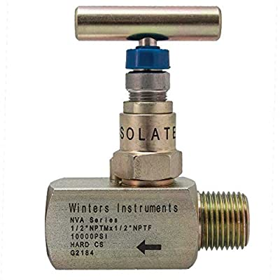 "Winters NVA Series Needle Valve, Straight Body, Hard Seat, Carbon Steel, 6000 psi Max Pressure, 1/4"" NPT MxF by Winters Instruments"