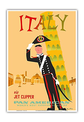 Italy via Jet Clipper - Pan American World Airways - Italian Carabinieri Policeman and The Leaning Tower of Pisa - Vintage Airline Travel Poster by Aaron Fine c.1959 - Master Art Print - 13in x 19in