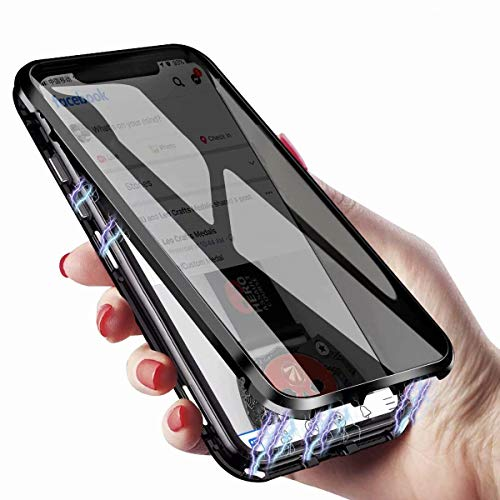 KMXDD Anti-Spy Anti-Peeping iPhone Xs Max 360° Full Body Case,Clear Double Sided Tempered Glass [Magnetic Adsorption] Metal Bumper Protection Privacy Cover for iPhone Xs MAX (Black, iPhoneXSMAX)