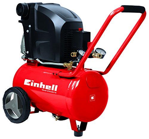 Einhell Kompressor TE-AC 270/24/10 (1,8 kW, 24 L, Ansaugleistung 270 l / min, 10 bar, ölgeschmiert, große Räder und Haltebügel)