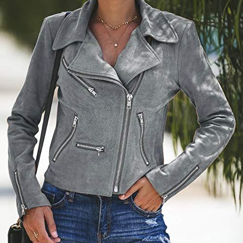 Overcoat Womens Gray Rivet Tops Outwear Long Outdoor Autumn DEELIN Clearance Sale Coats Ladies Up Retro Jacket Sleeve Winter Bomber Zipper Casual gxqdnOFw