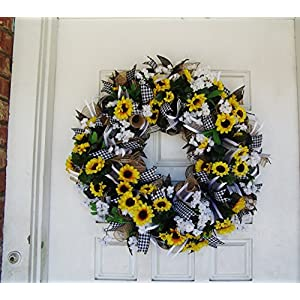 Black White & Yellow Summer Sunflower Front Door Deco Mesh Wreath, Spring Fall Decor, Burlap Wedding Farmhouse, French Country 2