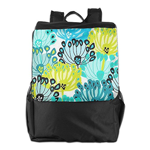 HSVCUY Personalized Outdoors Backpack,Travel/Camping/School-Blue Yellow Flowers Adjustable Shoulder Strap Storage Dayback For Women And Men