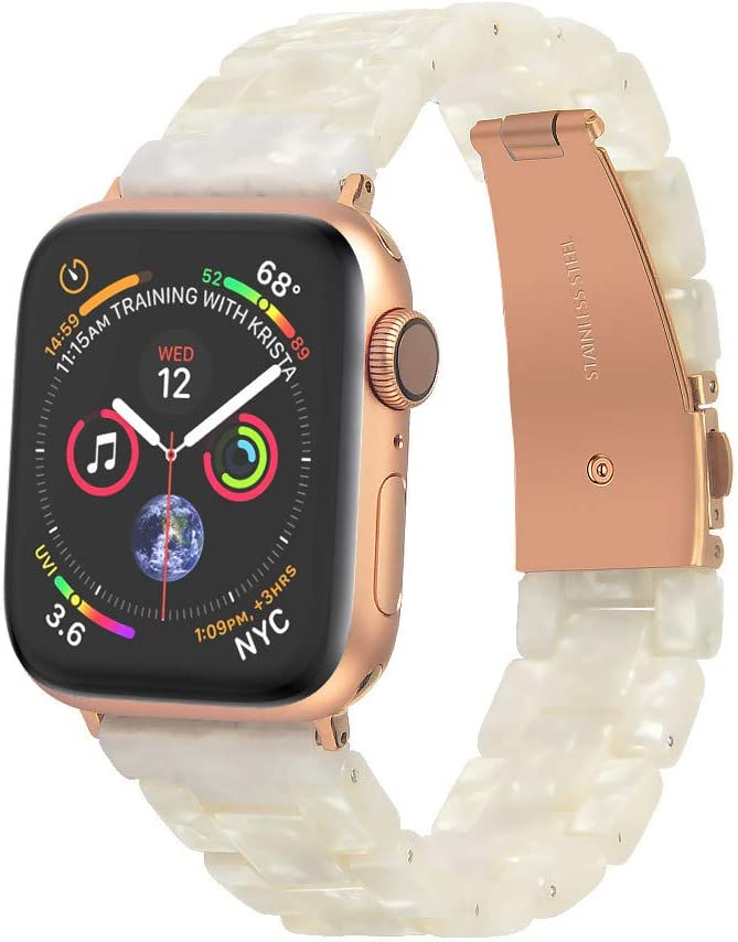Light Resin Watch Band for Apple Watch 40mm Women Lightweight Plastic Wristband Replacement 38mm Band Watch Strap for Series 6/5/4 Sport Edition Nike+ Hermes