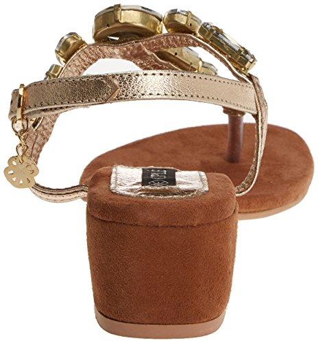 CUPLE Piedras Piel, Sandalias con Tira de Tobillo para Mujer Dorado (Oro)