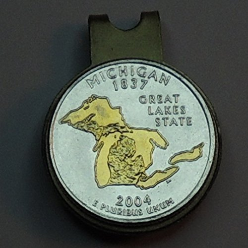 Michigan Statehood Quarter - Gorgeously 2-Toned (Uniquely Hand done) Gold on Silver coin - Magnetic Golf Ball Marker - Hat clips for men - women - boys - accessories sports fitness